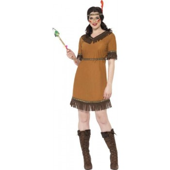 Ladies Native American Maiden Costume Cowboys/Native Americans Outfit (Brown)
