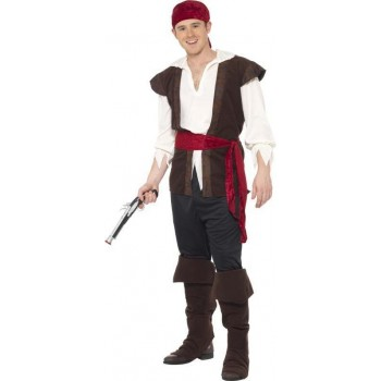 Mens Pirate Costume Pirates Outfit (Black)