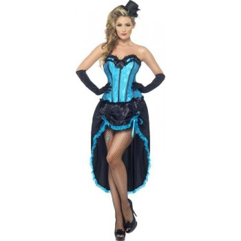 Ladies Burlesque Dancer Costume Burlesque Outfit (Blue)
