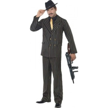Mens Gold Pinstripe Gangster Costume Cops/Robbers Outfit