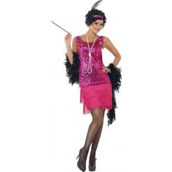 Ladies Funtime Flapper Costume 1920'S Outfit (Pink)