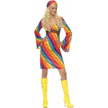 Ladies Rainbow Hippie Costume Hippy Outfit