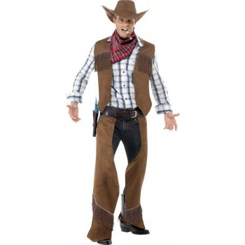 Mens Fringe Cowboy Costume Cowboys/Native Americans Outfit (Brown)