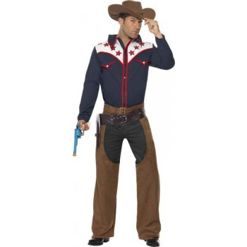 Mens Rodeo Cowboy Costume Cowboys/Native Americans Outfit - Chest 38-40 (Blue)