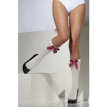 Opaque Knee High Socks Tights - (White)