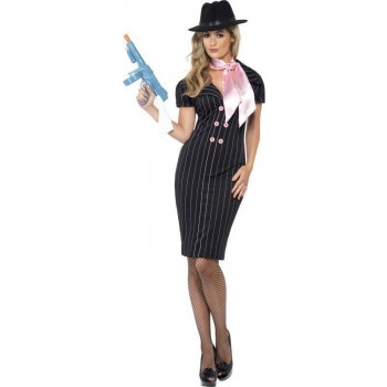Ladies Gangster'S Moll Costume Cops/Robbers Outfit