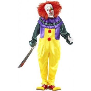 Mens Classic Horror Clown Costume Halloween Outfit (Multicolour)