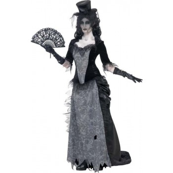Ladies Ghost Town Black Widow Costume Halloween Outfit (Grey)