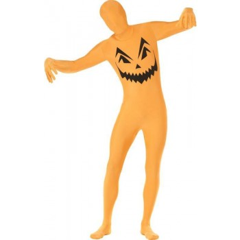Mens Pumpkin Second Skin Costume Halloween Outfit (Orange)