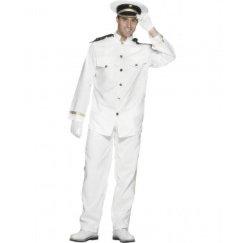 Mens Captain Costume Sailor Outfit - Chest 46-48 (White)