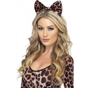 Ladies Cheetah Bow On Headband Other