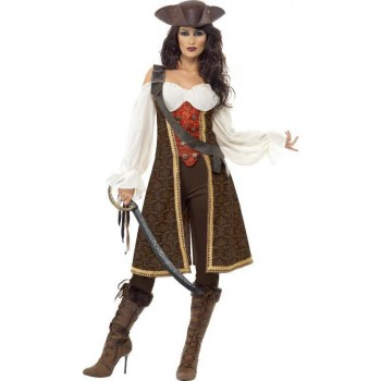 Ladies High Seas Pirate Wench Costume Pirates Outfit (Brown)