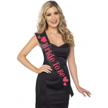 Ladies Bride To Be Sash Hen & Stag - (Black)