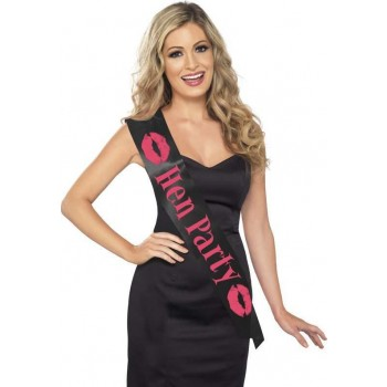 Ladies Hen Party Sash Hen & Stag - (Black)