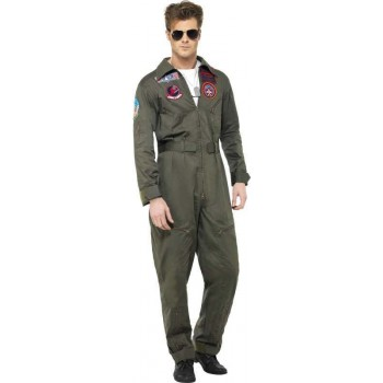 Mens Top Gun Deluxe Male Costume Film Outfit (Green)