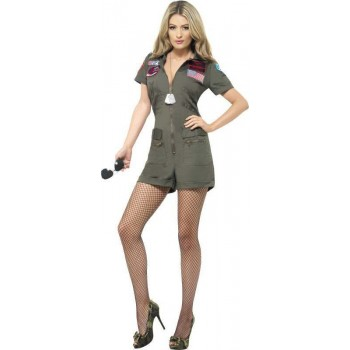 Ladies Top Gun Aviator Costume Film Outfit (Green)