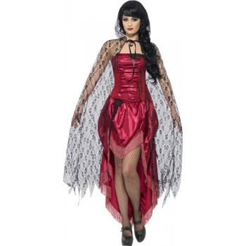 Ladies Gothic Lace Cape Halloween - (Black)