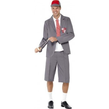 Mens Schoolboy Costume School Outfit (Grey)