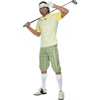 Mens Gone Golfing Costume, Green, Yellow And White Sport Outfit