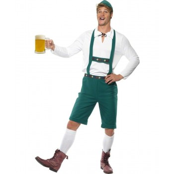 Mens Oktoberfest Costume Bavarian Outfit - Chest 46-48 (Green)