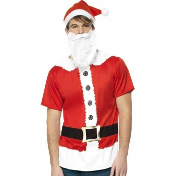 Mens Red And White Santa Instant Kit Fancy Dress Costume