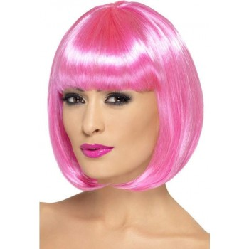 Party Wig, 12 Inch Wigs - (Pink)