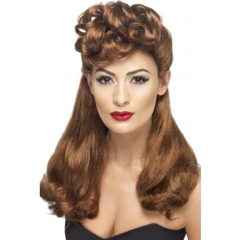 Ladies 40'S Vintage Wig Wigs - (Red)