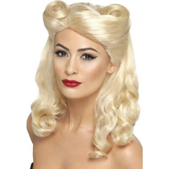 Ladies 40'S Pin Up Wig Wigs - (Blonde)