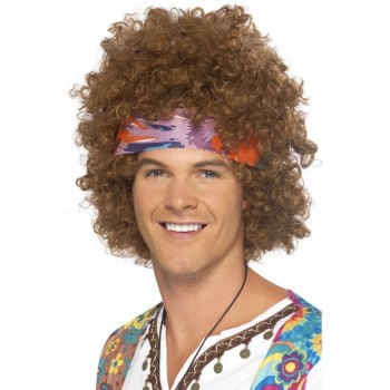 Mens Hippy Afro Wigs - (Brown)