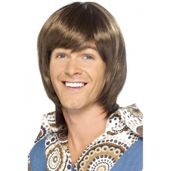Mens 70'S Heartthrob Wig Wigs - (Brown)