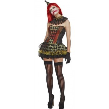 Ladies Black Fever Creepy Zombie Clown (Fancy Dress Costume)