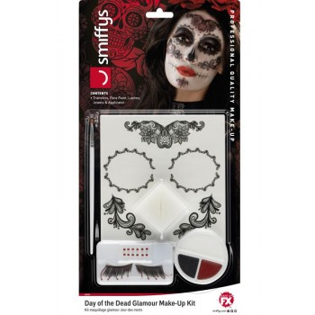 Day of the Dead Glamour Make-Up Kit Halloween Fancy Dress Accessory