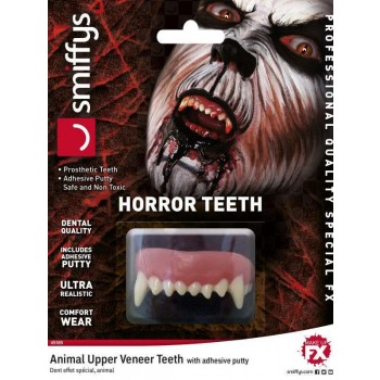 Adults Dental Quality Horror Teeth, Animal, with Upper Veneer Teeth Halloween Fancy Dress Accessory