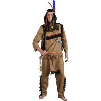 Mens Brave Native American Warrior Cowboys/Native Americans Outfit (Brown)