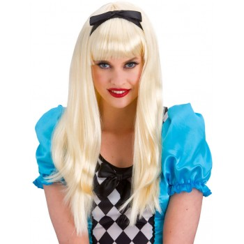 Ladies Blonde Storybook Alice Wig Fancy Dress Accessory.