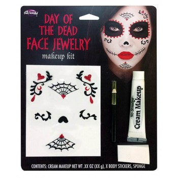 Ladies Day of the Dead Face Jewelery Makeup Kit Fancy Dress Accessory