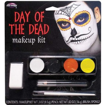 Adults Day of the Dead Makeup Kit - Moustache Halloween Fancy Dress Accessory