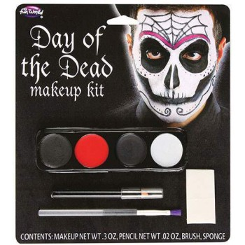 Adults Day of the Dead Makeup Kit BLK/RED Halloween Fancy Dress Accessory
