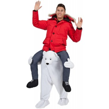 Adults Plush Carry Me Polar Bear Fancy Dress Costume