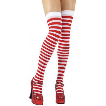 Candystripe Thigh Highs / Red And White - Fancy Dress
