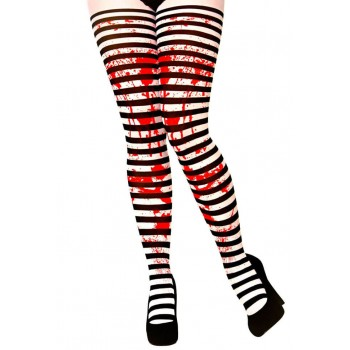 Ladies Candystripe With Blood Tights Halloween Fancy Dress Accessory
