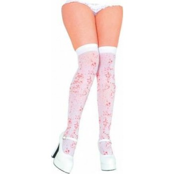 White Thigh Highs With Blood Spattered Print