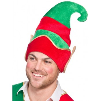 Adults Deluxe Elf Hat With Ears Christmas Accessory