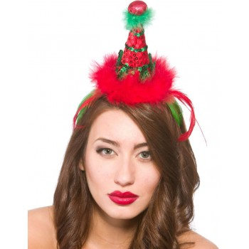 Festive Deluxe Elf Hat On Headband Christmas Accessory