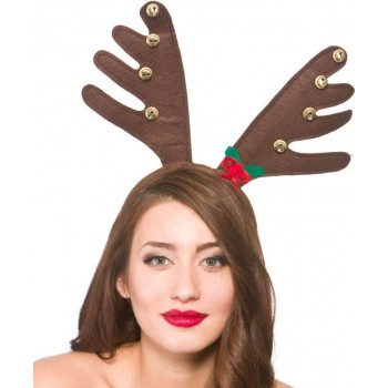 Adults Deluxe Reindeer Antlers With Bells Christmas Accessory