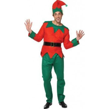 Mens Deluxe Mens Elf Costume Christmas Outfit - One Size (Red, Green)