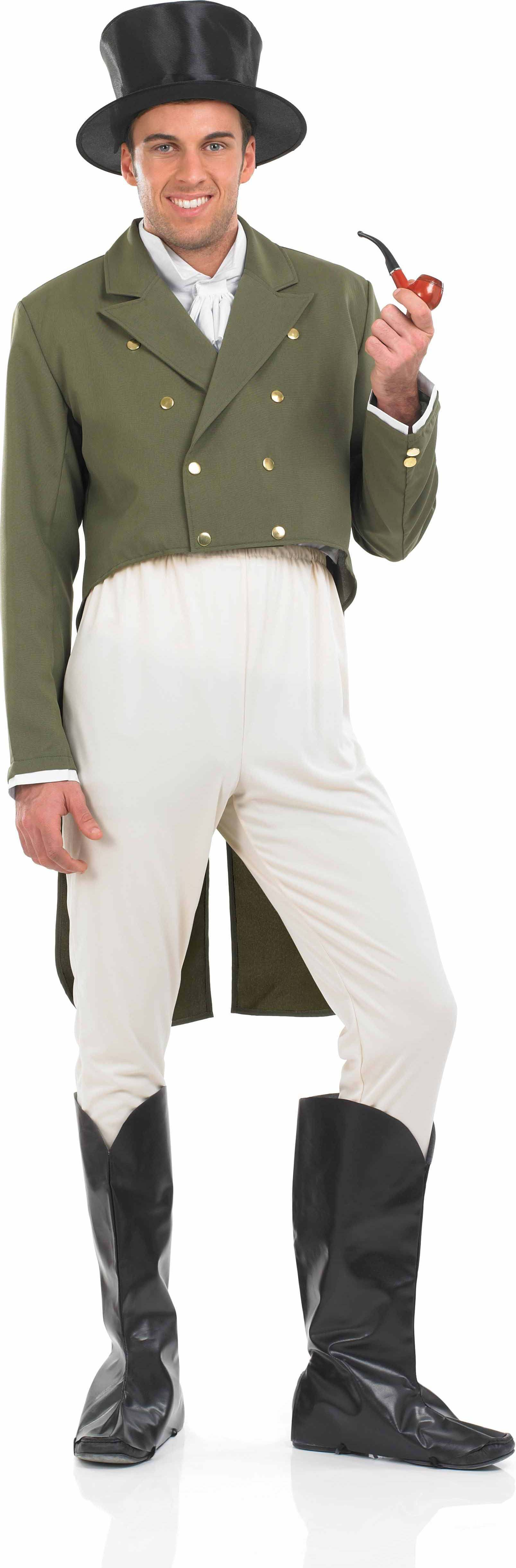 MENS-REGENCY-GENT-PERIOD-OUTFIT-GREEN-WHITE